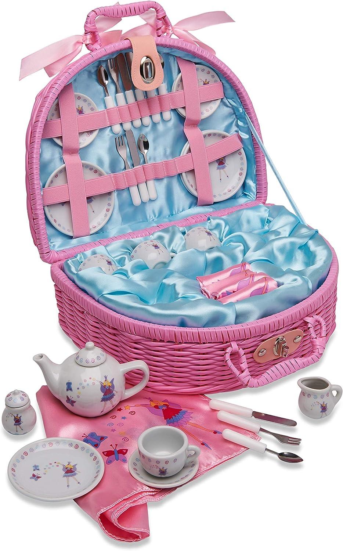 Cesta de pícnic de juguete y juego de té con hadas de Lucy Locket de color rosa para niños - Vajilla infantil de porcelana de 32 piezas