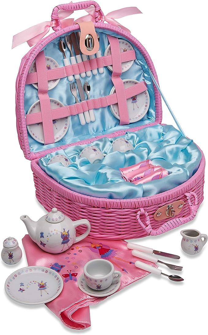 Cesta de pícnic de juguete y juego de té con