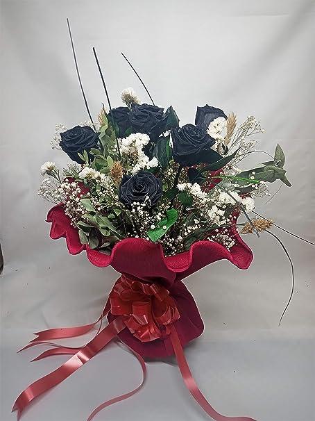 Almaflor Rosa Eterna Negra. Gratis tu Envio. Ramos de 6 Rosas Negras eternas. Ramo de Rosas preservadas Negras. Decorado con Verdes y Flores preservados. Hecho en España: Amazon.es: Hogar