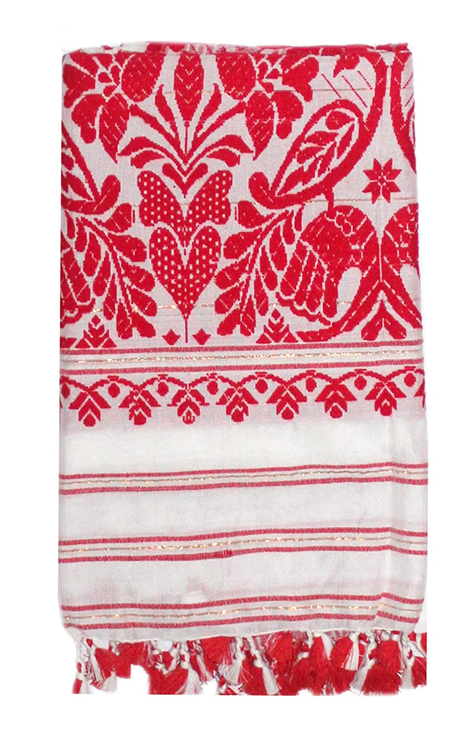 EPIC STORE RETAILER Assam Silk Cotton Heavy Work Side Bordered Soft-Pat Hand Made Gamosa , 67 x 25 Inches, White