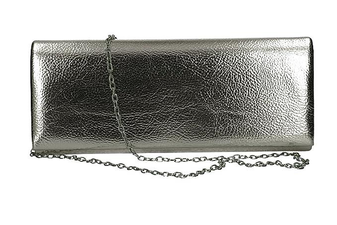 MICHELLE MOON Bolso de mano mujer elegante bolsa de ceremonia gris VN2335