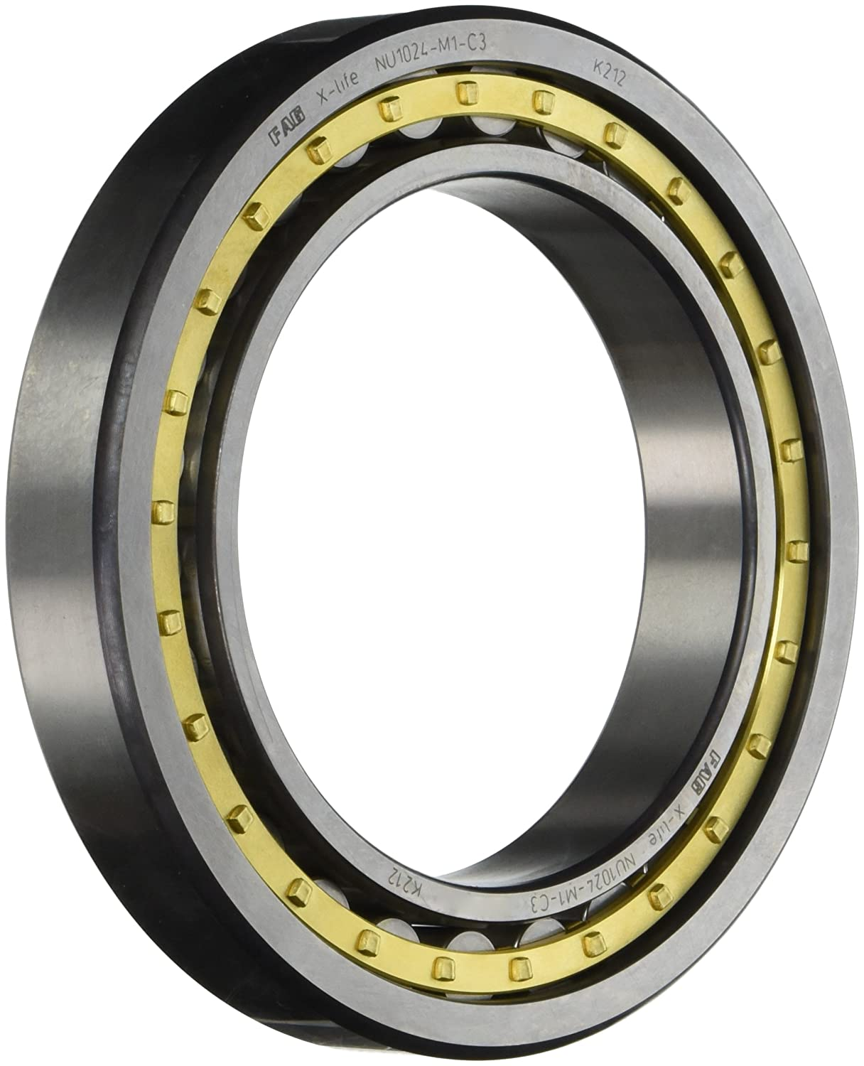 FAG NU1024M1-C3 Cylindrical Roller Bearing, Single Row, Straight Bore,  Removable Inner Ring, Standard Capacity, Brass Cage, C3 Clearance, 120mm  ID, ...