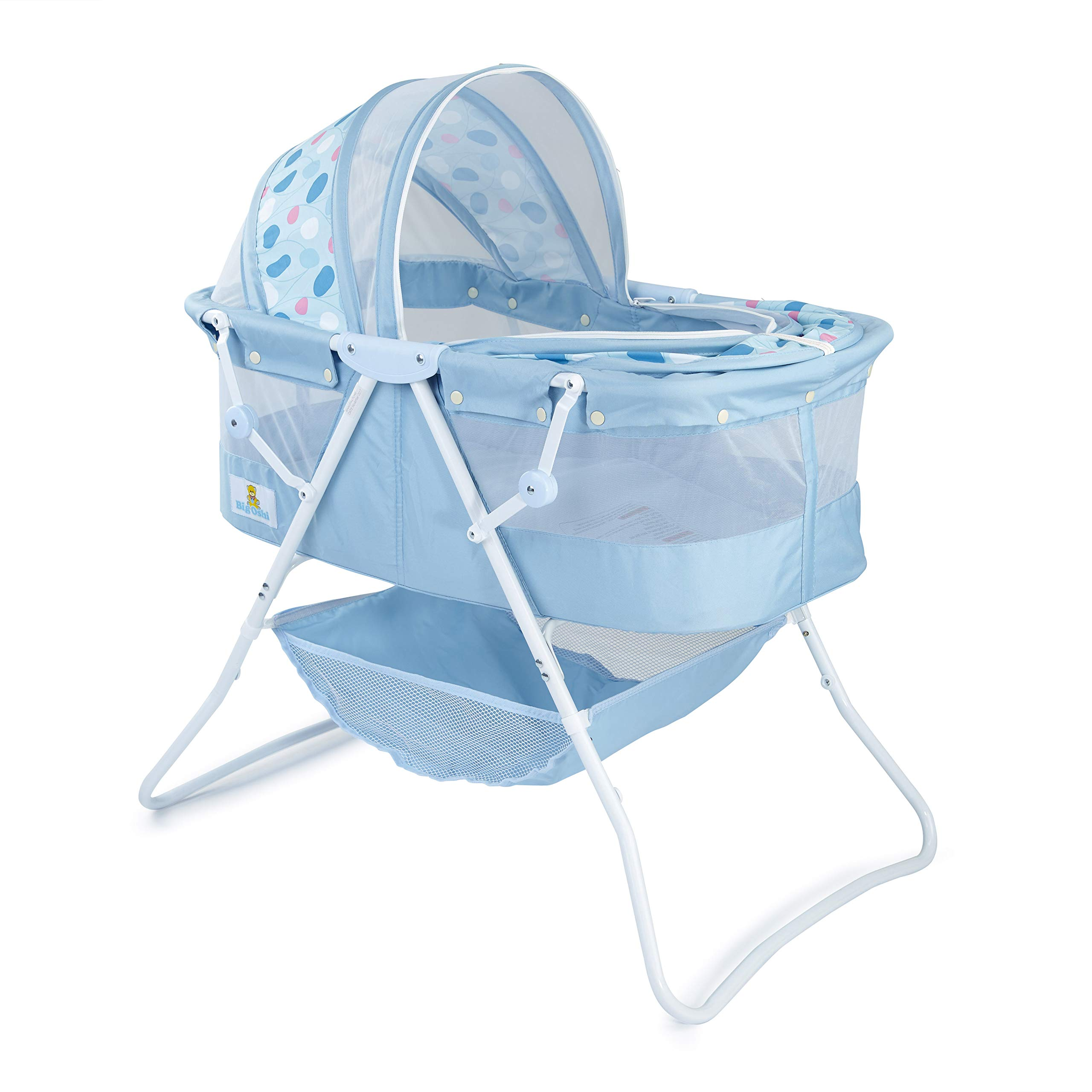 Big Oshi Emma Newborn Baby Bassinet - Portable Bassinet for Boys or Girls - Perfect for Bedside, Indoors, or Outdoors - Lightweight for Travel - Canopy Netting Cover - Wood Bed Base, Blue Circles by Big Oshi