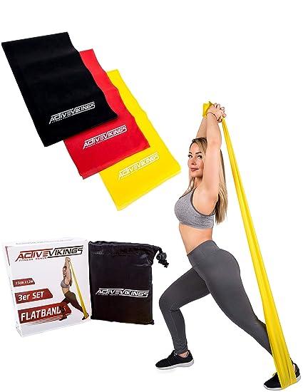 ActiveVikings Fitnessbänder Set 3-Stärken | 1.20m / 2m Länge | Ideal für Muskelaufbau Physiotherapie Pilates Yoga Gymnastik u