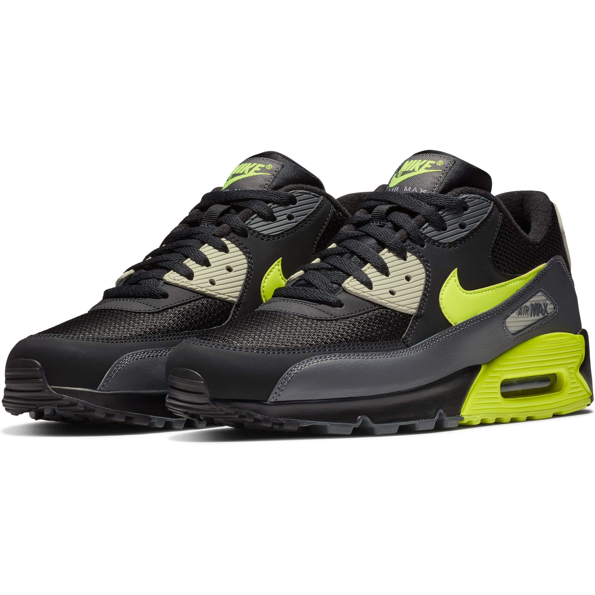 finest selection 689f9 3e72c Galleon - Nike Mens Air Max 90 Essential Running Shoes Dark Grey Volt Black Bone  AJ1285-015 Size 11.5
