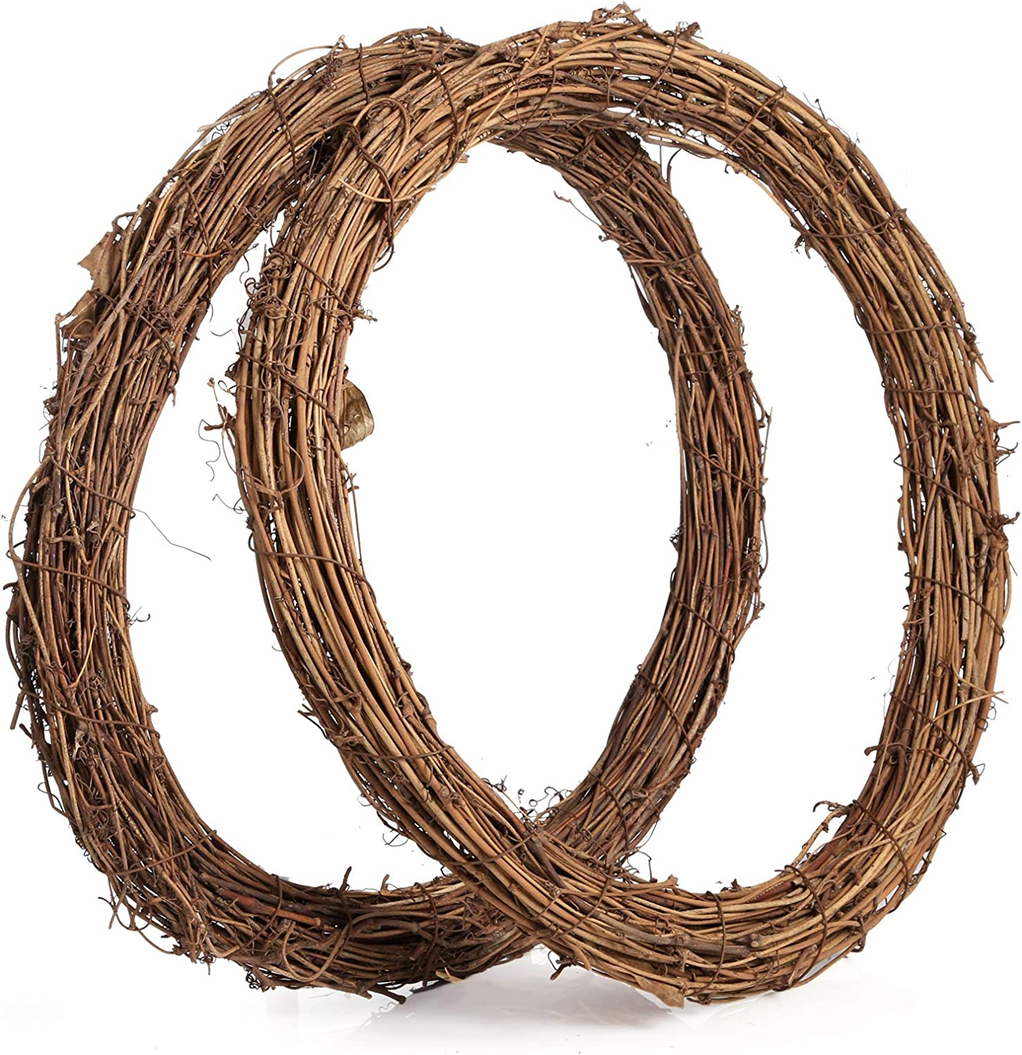 Sntieecr 2 PCS 14 Inch Large Natural Grapevine Wreathes Vine Branch Wreath Christmas Rattan Wreath Garland Decoration for DIY Christmas Craft or Wedding Decors