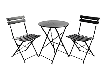Finnhomy Slatted 3 Piece Outdoor Patio Furniture Sets Bistro Sets Steel Folding  Table And Chair Set