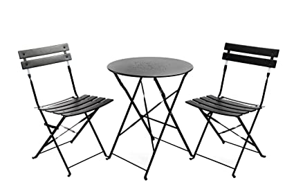 Finnhomy Slatted 3 Piece Outdoor Patio Furniture Sets Bistro Sets Steel Folding Table and Chair Set  sc 1 st  Amazon.com & Amazon.com: Finnhomy Slatted 3 Piece Outdoor Patio Furniture Sets ...