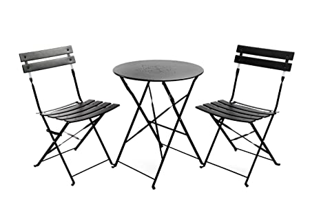 Finnhomy Slatted 3 Piece Outdoor Patio Furniture Sets Bistro Sets Steel Folding Table and Chair Set with Safe Lock for Indoors and Outdoors Bistro Table Chair Sets Backyard Bistro Patio Lawn Black