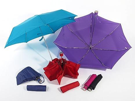 super slim Paraguas rojo cortavientos para mujer reducirse 90 cm cerrado 21 cm
