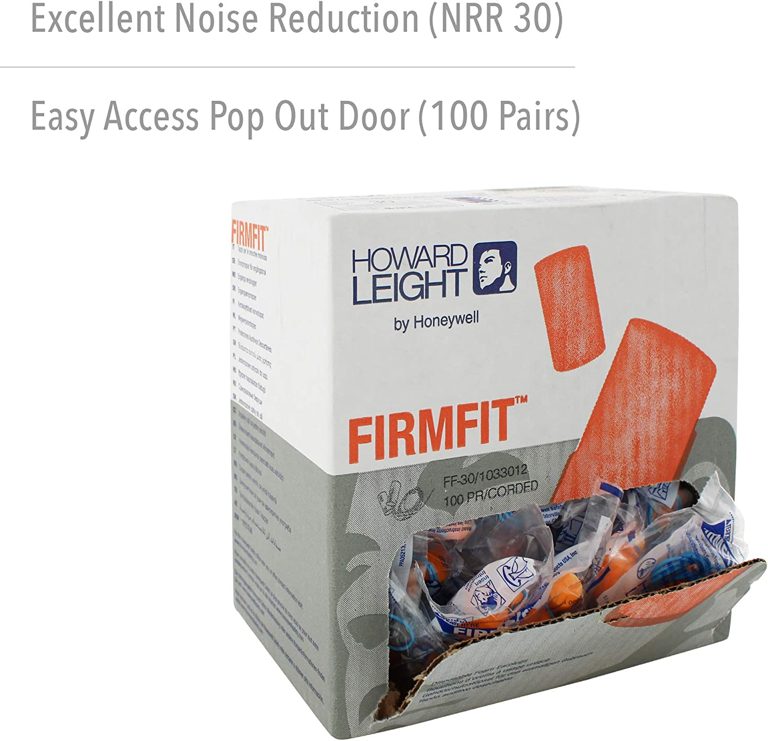 Howard Leight by Honeywell FirmFit Corded Disposable Foam Earplugs 100-Pairs Paper Bag FF-30-PB