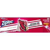 Ziploc Slider Storage Gallon Bag, Great for Grab-and-go Snacking, Tailgating or homegating, 20 Count- NFL Arizona…