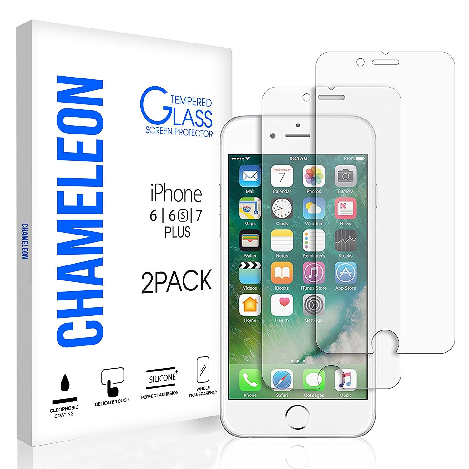 new concept 64608 83856 iPhone 7 Plus 6S Plus 6 Plus Screen Protector, Chameleon iPhone 7 Plus  Tempered Glass Screen Protector for Apple iPhone 7 Plus, iPhone 6S Plus,  iPhone ...