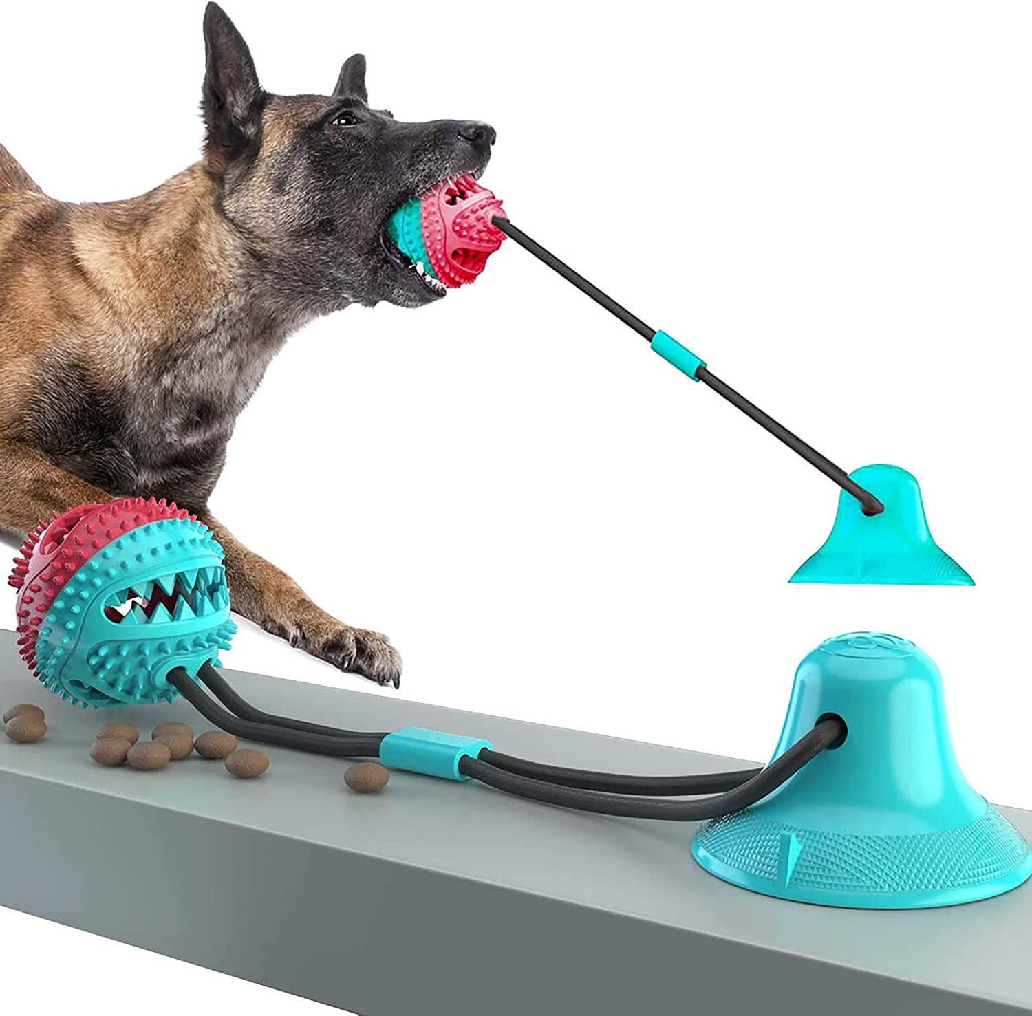 Dog Chew Toys, Dogs Training Treats Teething Rope Toys with Suction Cup for Boredom, Indoor Interactive Toy for Puppy, Dog Puzzle Treat Food Dispensing Ball Toy, Suitable for Small Large Dogs