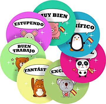 Comic Super German Lessons Reward Sticker Labels Children Teacher Parent School