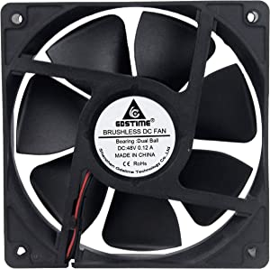 GDSTIME 120mm 48V Fan, 120x120x25mm Dual Ball Bearings DC Brushless Cooling Fan