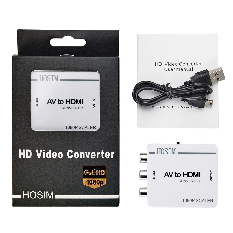 Amazon Hosim AV To HDMI Converter Adapter RCA Mini Box For TV PC PS3 Blue Ray DVD Home Audio Theater