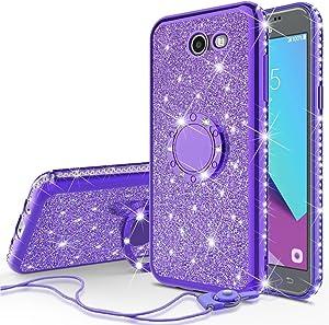 SOGA Samsung Compatible case, Model Galaxy J7v/Galaxy J7 Prime/Galaxy J7 Perx/Galaxy J7 Sky Pro Case Cute Girl/Women Rhinestone Bumper Sparkling Glitter Bling Diamond Cover Ring Stand - Purple