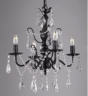Theresa black crystal chandelier classic 5 light swag plug in glass wrought iron and crystal 4 light black chandelier h 14 x w 15 pendant fixture aloadofball