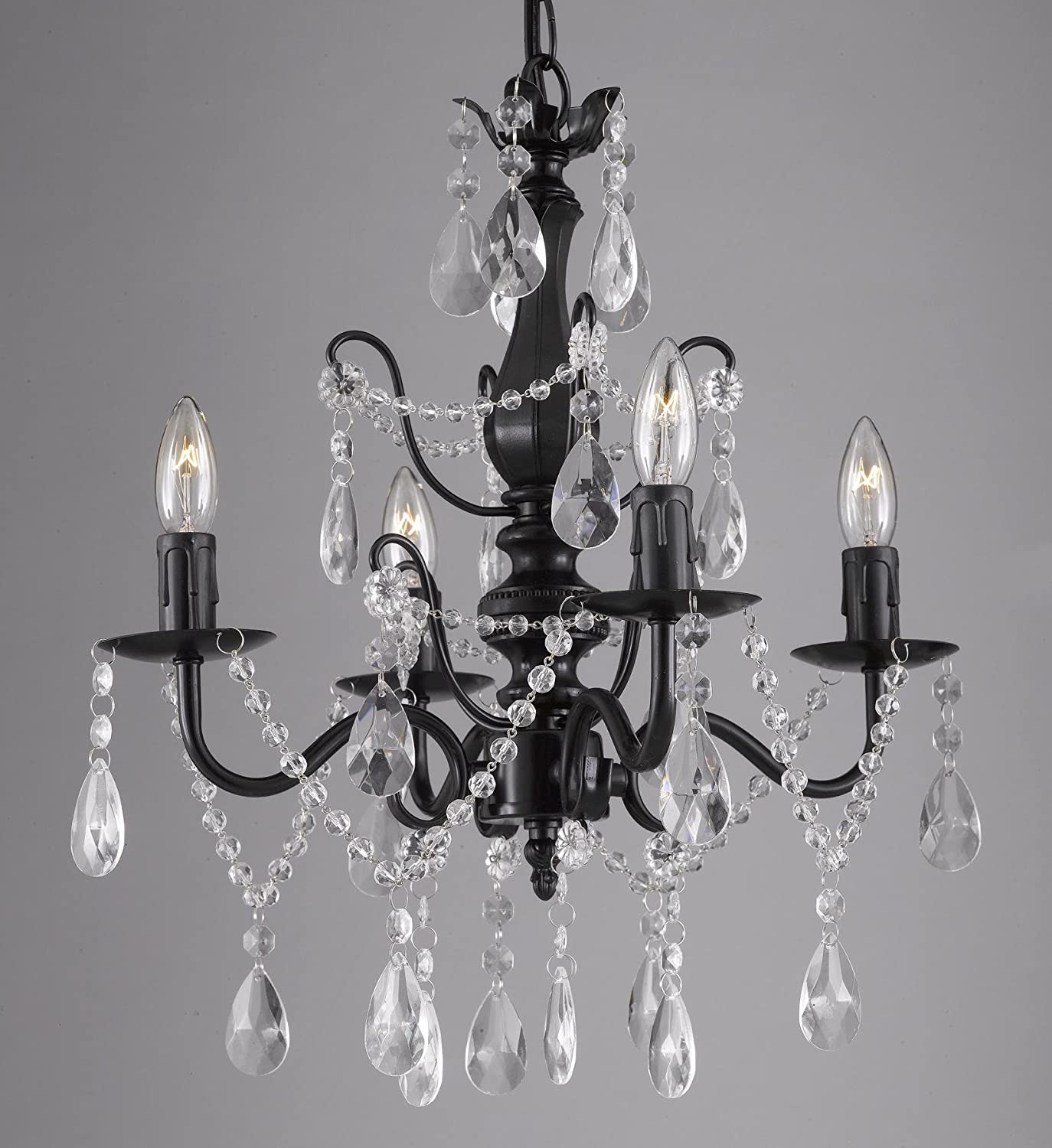 Wrought Iron and Crystal 4 Light Black