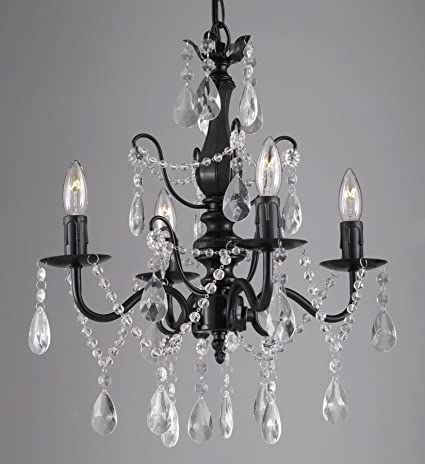 Wrought iron and crystal 4 light black chandelier h 14 x w 15 wrought iron and crystal 4 light black chandelier h 14quot x w 15quot pendant fixture aloadofball Images