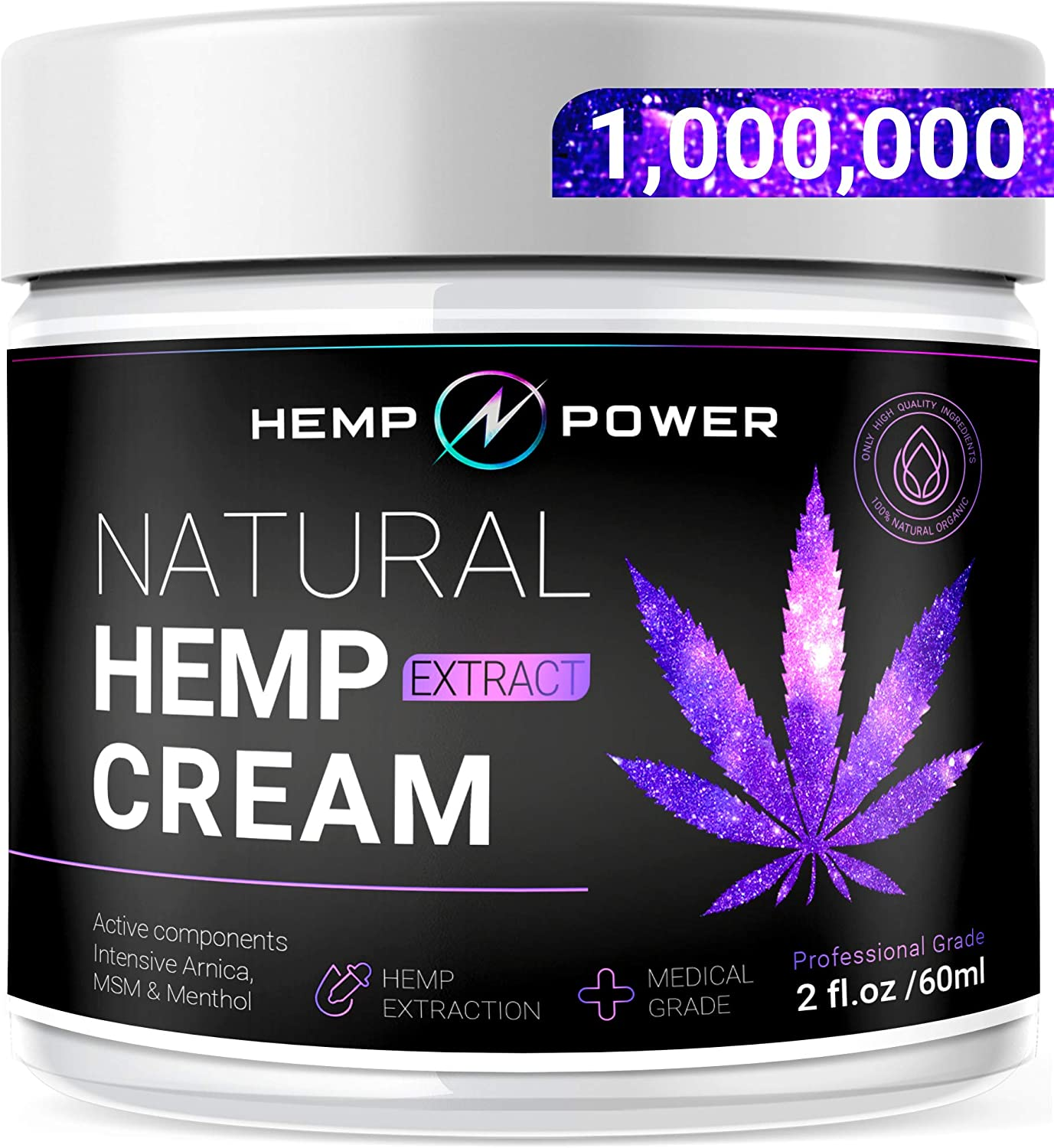 Hemp Power Pain Relief Cream -Relieves Muscle, Joint Pain, Lower Back Pain, Knees, and Fingers - Inflammation - Hemp Extract Remedy - Hemp Oil with MSM - Arnica 2fl oz