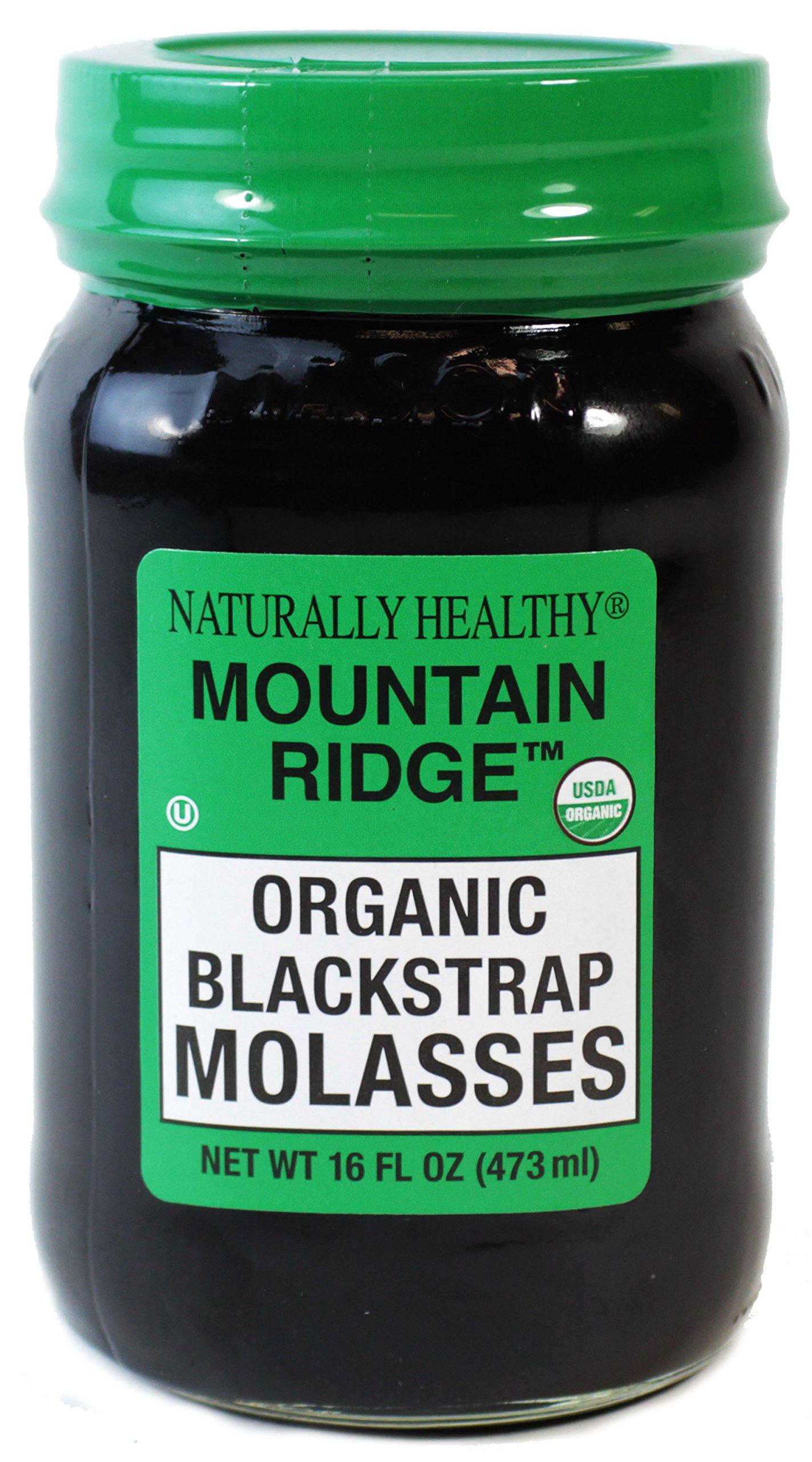 MOUNTAIN RIDGE Naturally Healthy USDA Organic Blackstrap Molasses, 16 Fl Oz Glass Mason Jar