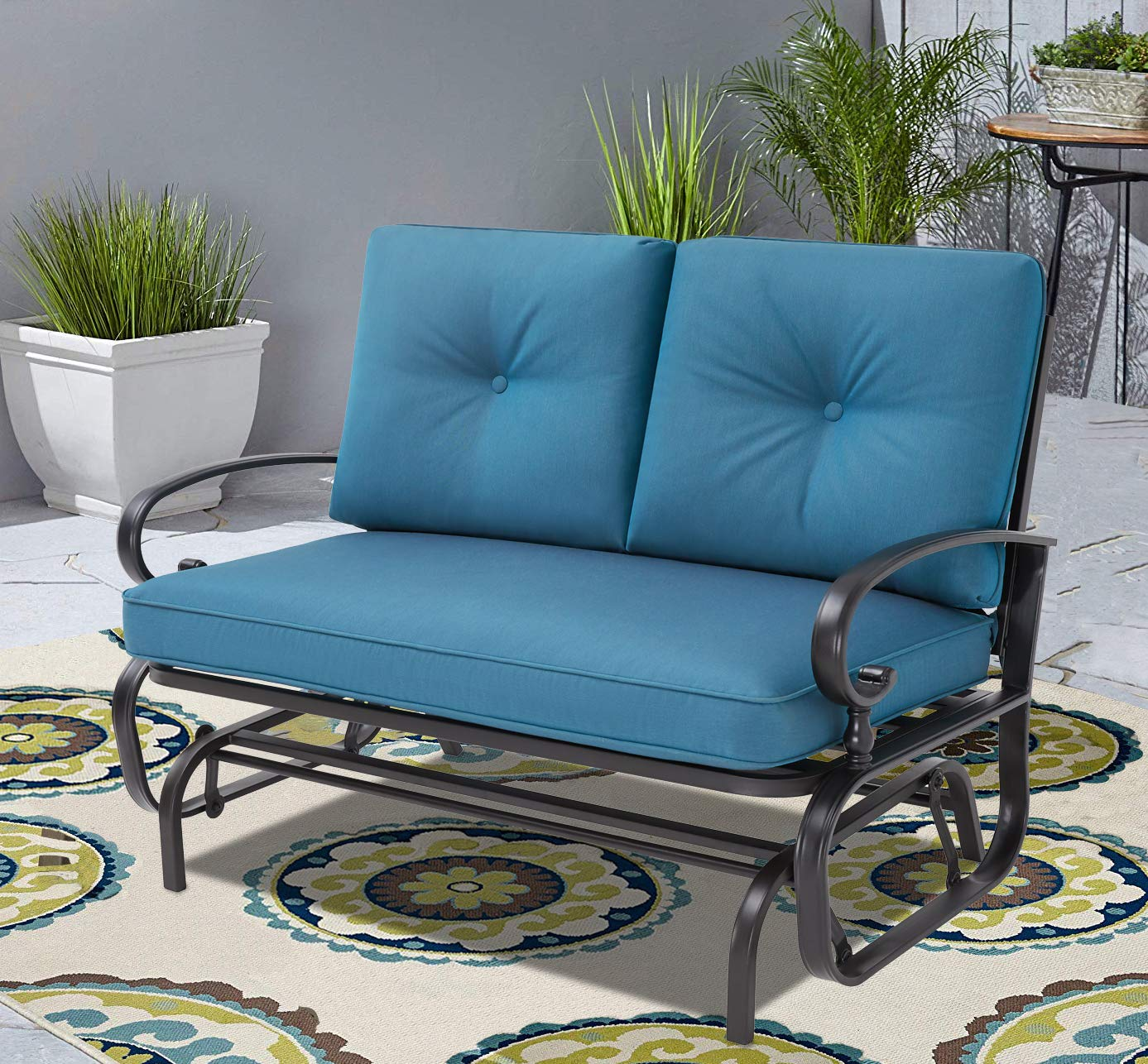 Incbruce Outdoor Swing Glider Rocking Chair Patio Bench for 2 Person, Garden Loveseat Seating Patio Wrought Iron Chair Set W/Cushion, Peacock Blue by Incbruce (Image #2)