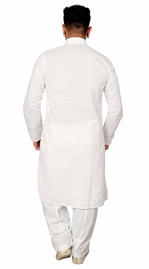 Desi Sarees Chikan Blanco algodón Kurta Salwar Kameez Pijama Fiesta étnica Sherwani 729: Amazon.es: Ropa y accesorios