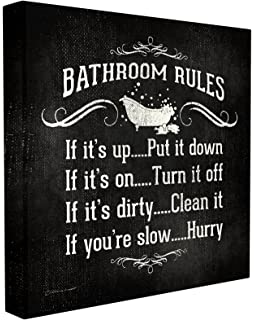 56b823237680 Stupell Home Décor Bathroom Rules BW Icon Stretched Canvas Wall Art