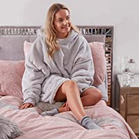 Sienna Wearable Sherpa Hoodie Blanket with Ultra Soft Fleece Lining Warm Cozy Oversized Sweatshirt Throw for Adults, One…