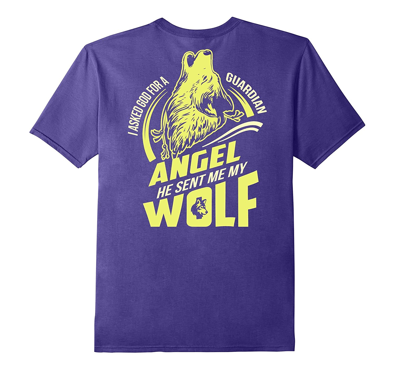 Wolf my Guardian Angel T-Shirt Back Print Wolf Shirt-TH