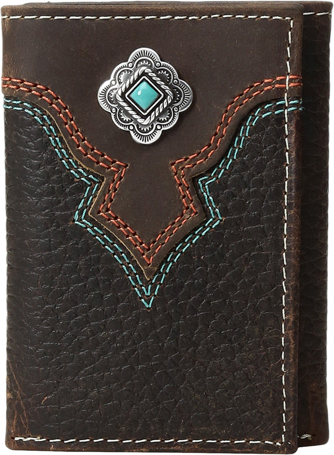 Nocona Men's Multi Stitch Color Tirquoise Trifold Wallet, Brown, One Size
