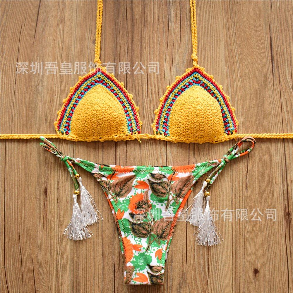XX&GXM Frauen Badeanzug Hand Bikini mit geteilter Bandage aus Gewirken