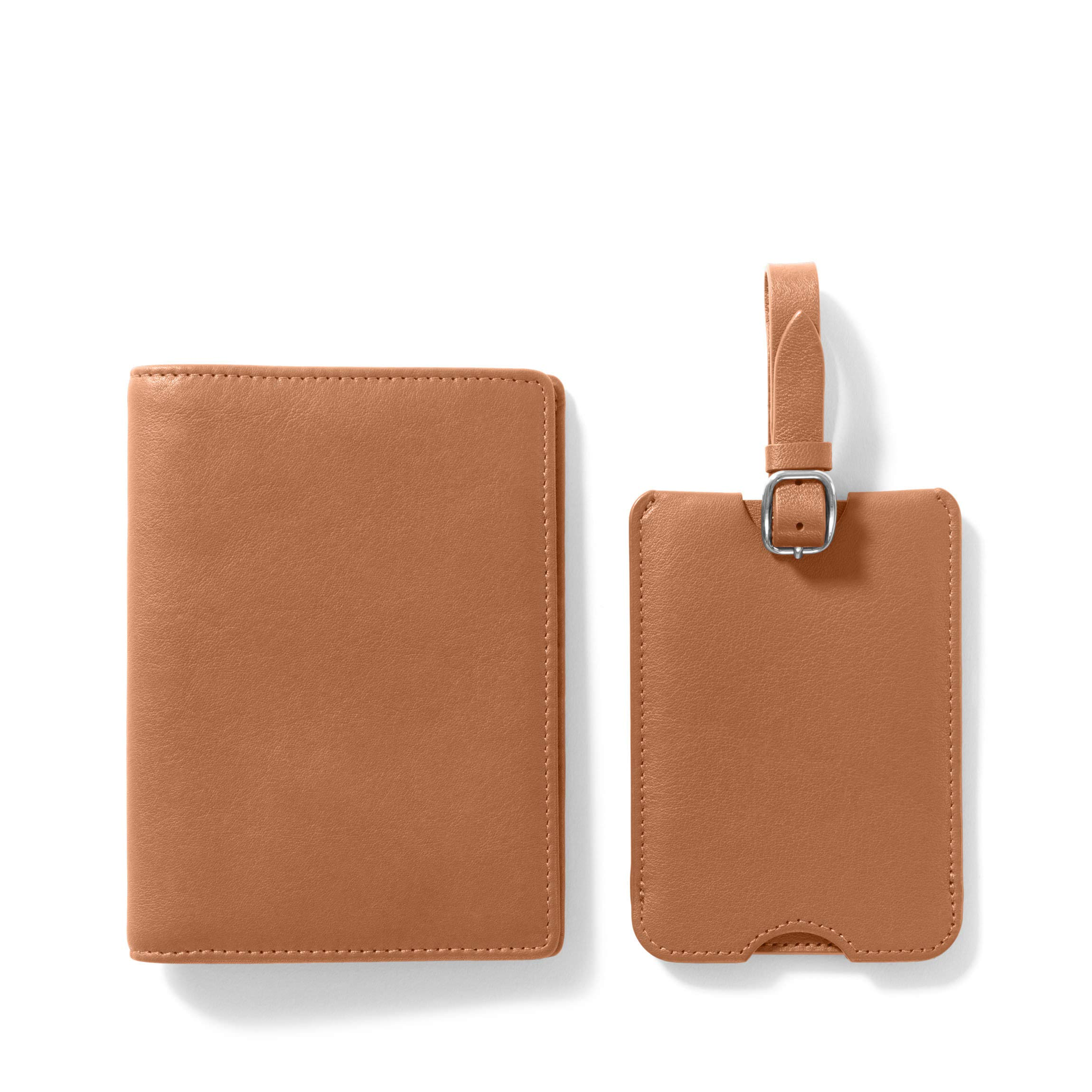 Deluxe Passport Cover + Luggage Tag Set - Full Grain Leather - Cognac (brown)