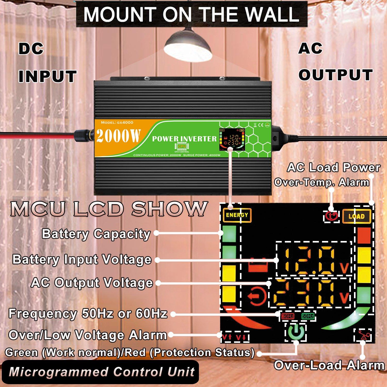Inversor de Corriente DC 12 V a AC 240 V Reino Unido 230 V inversor de Coche Solar 1000 W 2000 W 3000 W//2000W 4000 W 6000 W con Pantalla USB y LCD