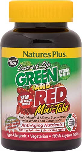 NaturesPlus Source of Life Green and Red Mini-Tabs – 180 Vegetarian Mini Tablets – Green Red Superfood Supplement, Energy Booster, Antioxidant – Gluten-Free – 30 Servings