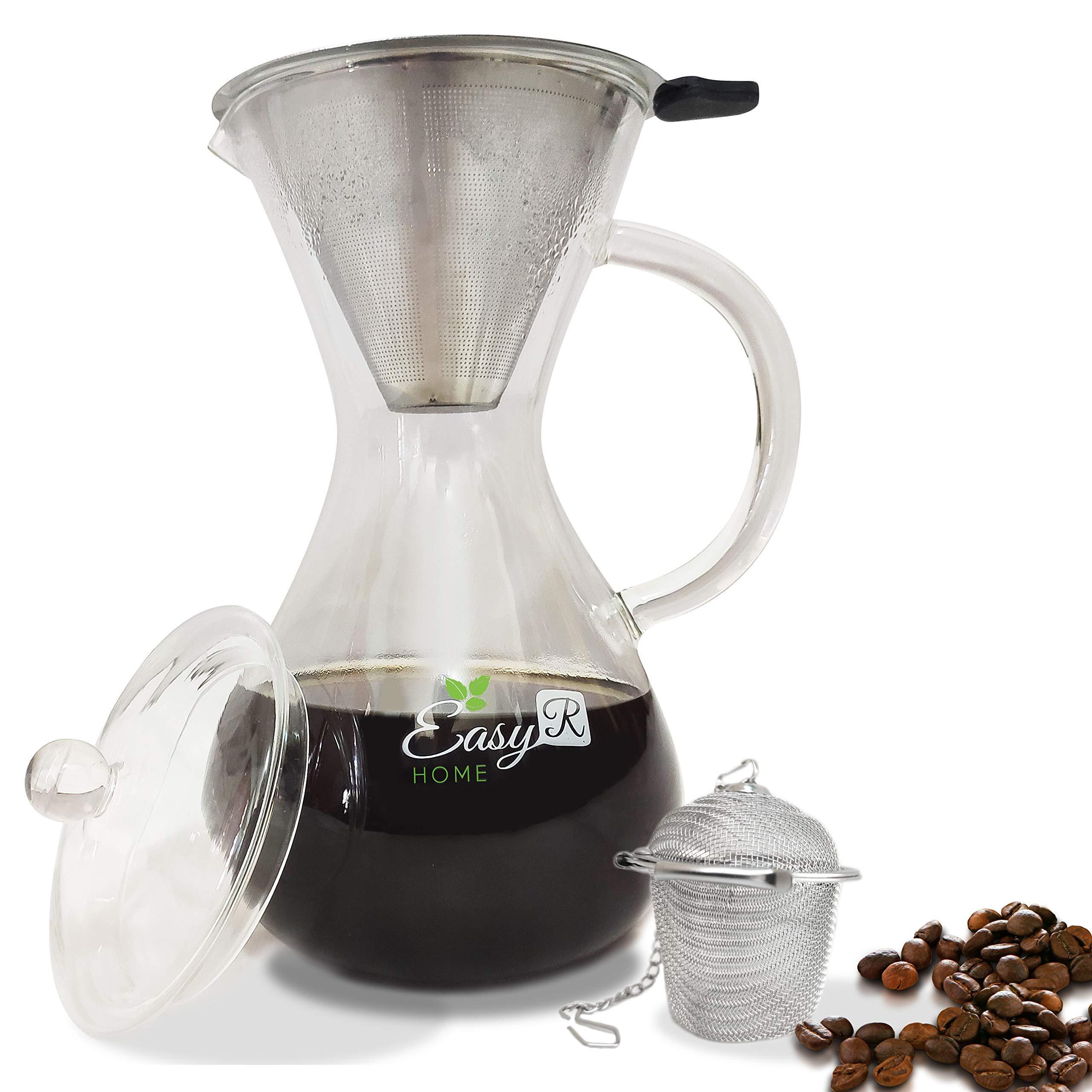 EasyR Home Pour Over Coffee Maker Dripper Set with Bonus Tea ...