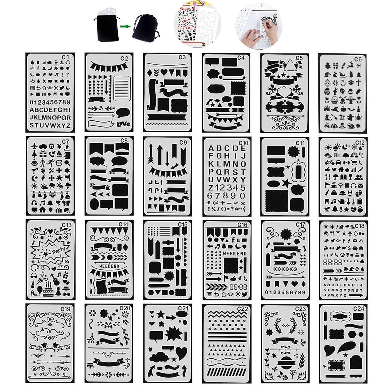 e2e2bf7f06 Tian Zeichenschablonen Set mit Exquisit Segeltuch Tasche - 24 Stück  Schablonenmalerei Stencil Set Kunststoff Schablonen für