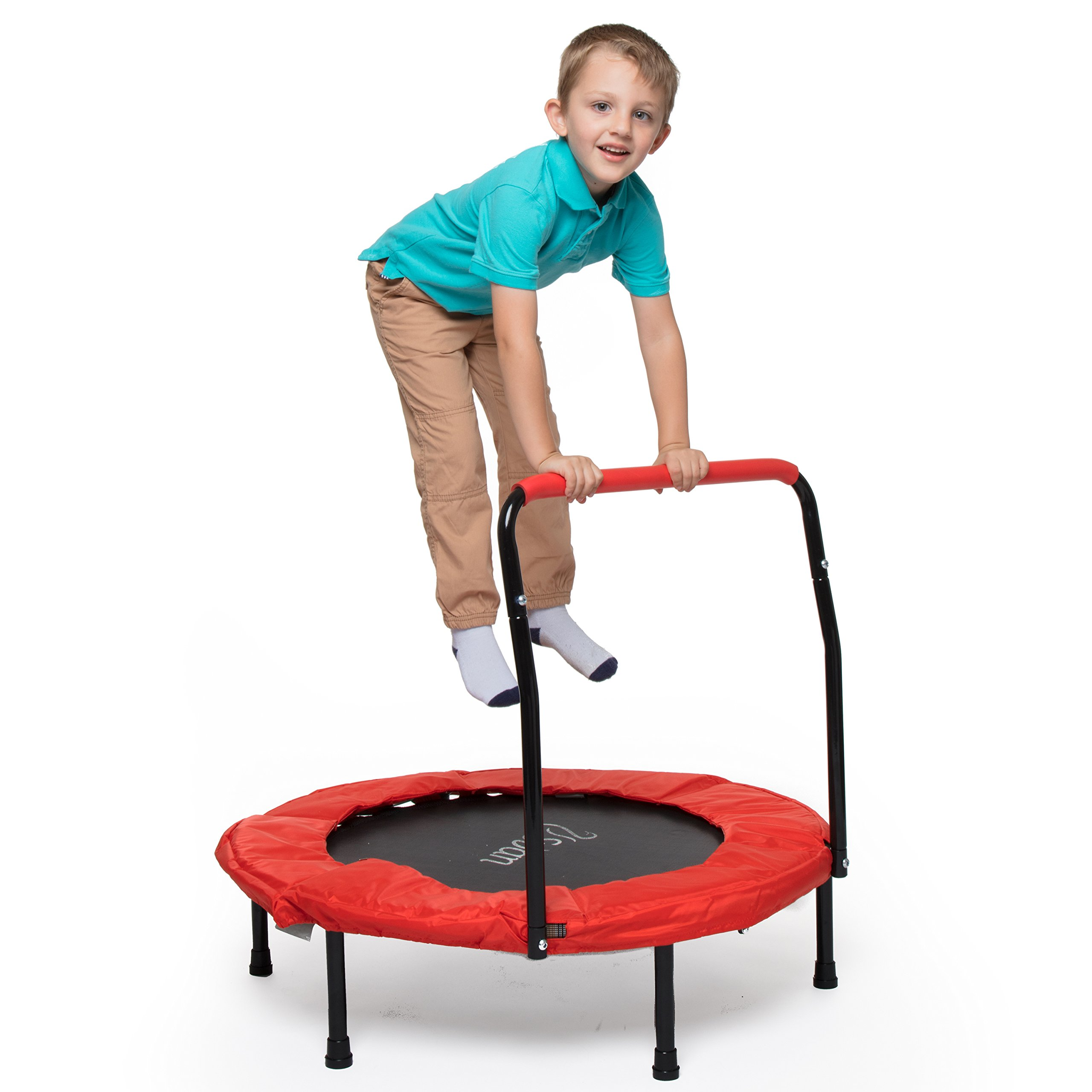 Svan 36 Inches Kid Trampoline w Handle for Stability - Foldable Handrail and Portable