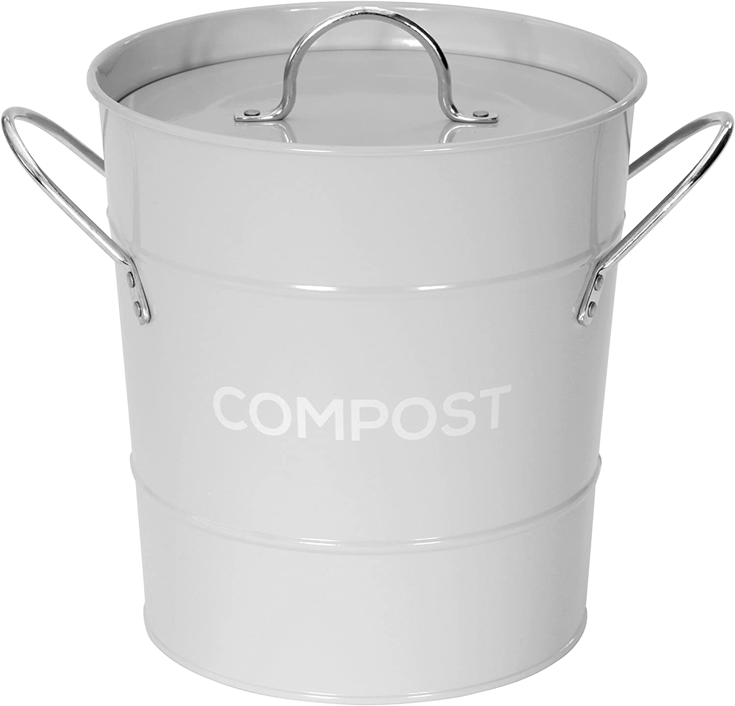 Light Grey Metal Kitchen Compost Caddy Composting Bin For Food Waste Recycling Amazon Co Uk Kitchen Home