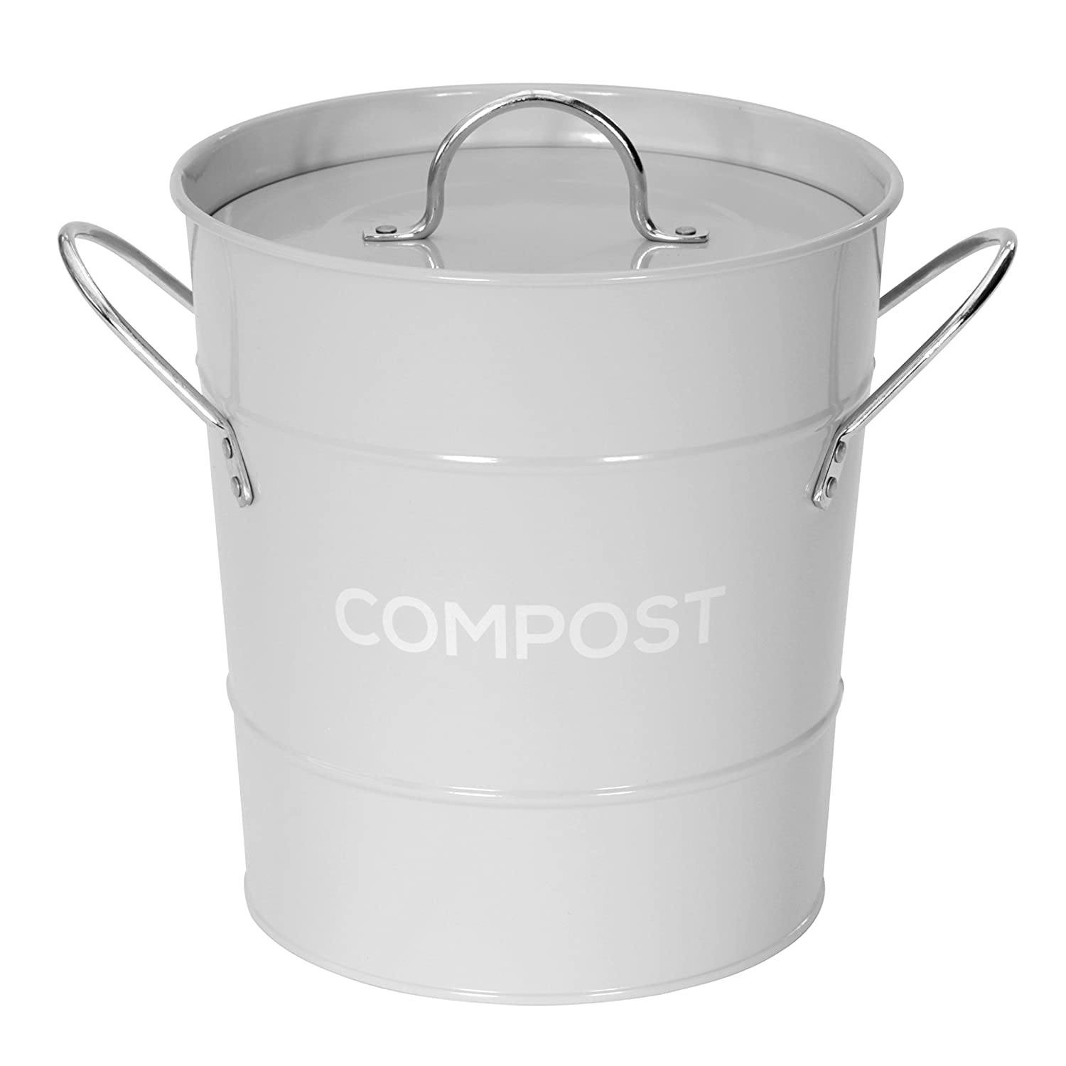 light grey metal kitchen compost caddy composting bin for food rh amazon co uk
