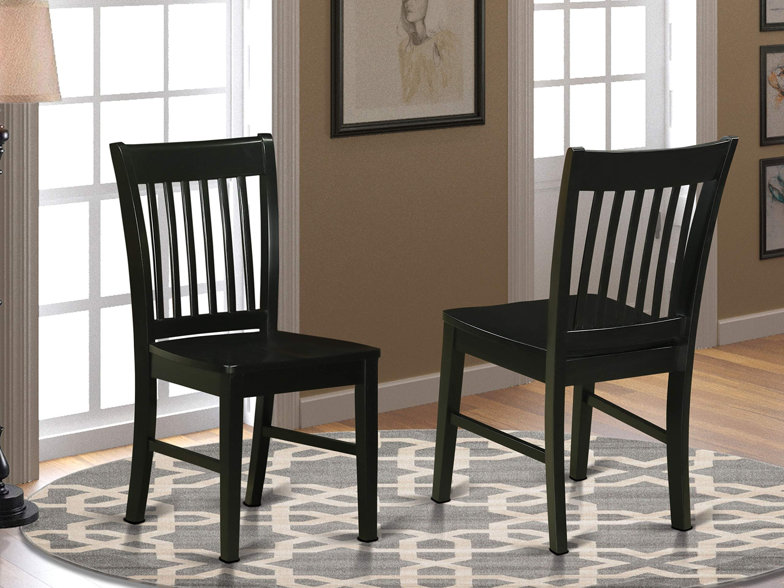 East West Furniture NFC-BLK-W Dining Chair Set with Wood Seat, Black Finish, Set of 2 by East West Furniture