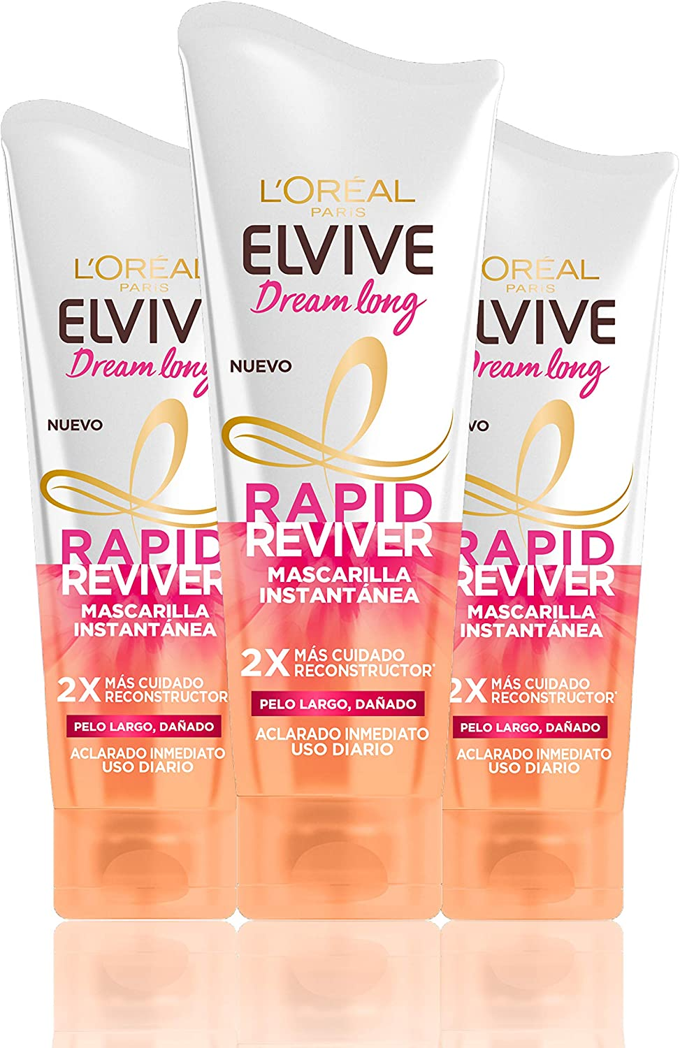L'Oreal Paris Elvive Dream Long Rapid Reviver Mascarilla Instantánea Reconstructora, para pelo largo dañado - pack de 3 unidades x 180 ml