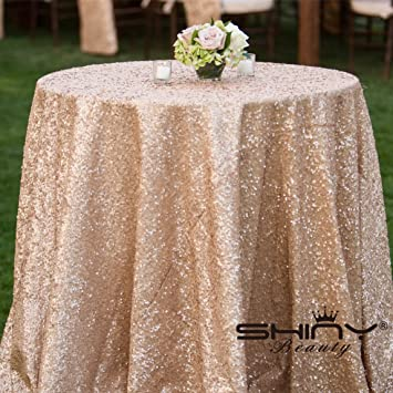 ShiDianYi 72u0026quot; Round Champagne Sequin Tablecloth
