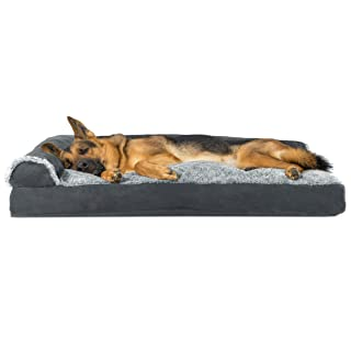 Furhaven Pet Dog Bed   Two-Tone Plush Faux Fur & Suede L Shaped Chaise Lounge Pillow Cushion Sofa-Style Living Room Corner Couch Pet Bed w/ Removable Cover for Dogs & Cats, Stone Gray, Jumbo