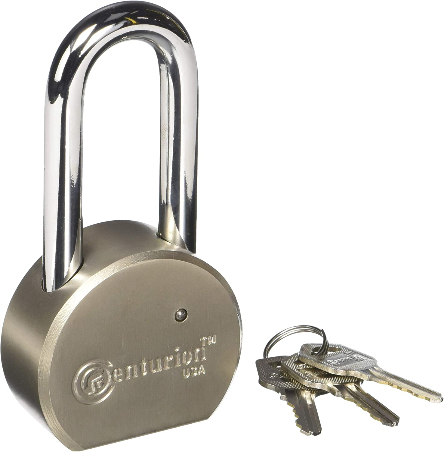 Centurion Round Body Solid Steel Padlock 70mm Shackle 65mm Wide Body