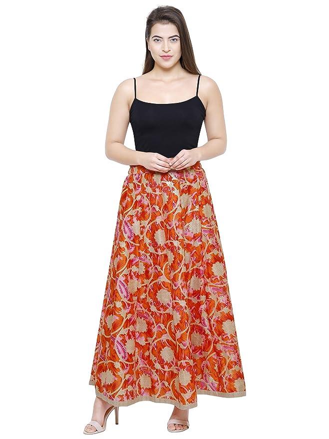8dfa6442c391b1 DAMEN MODE Women s Skirt Bottom (DMWS6000 Orange   Pink Free Size)   Amazon.in  Clothing   Accessories