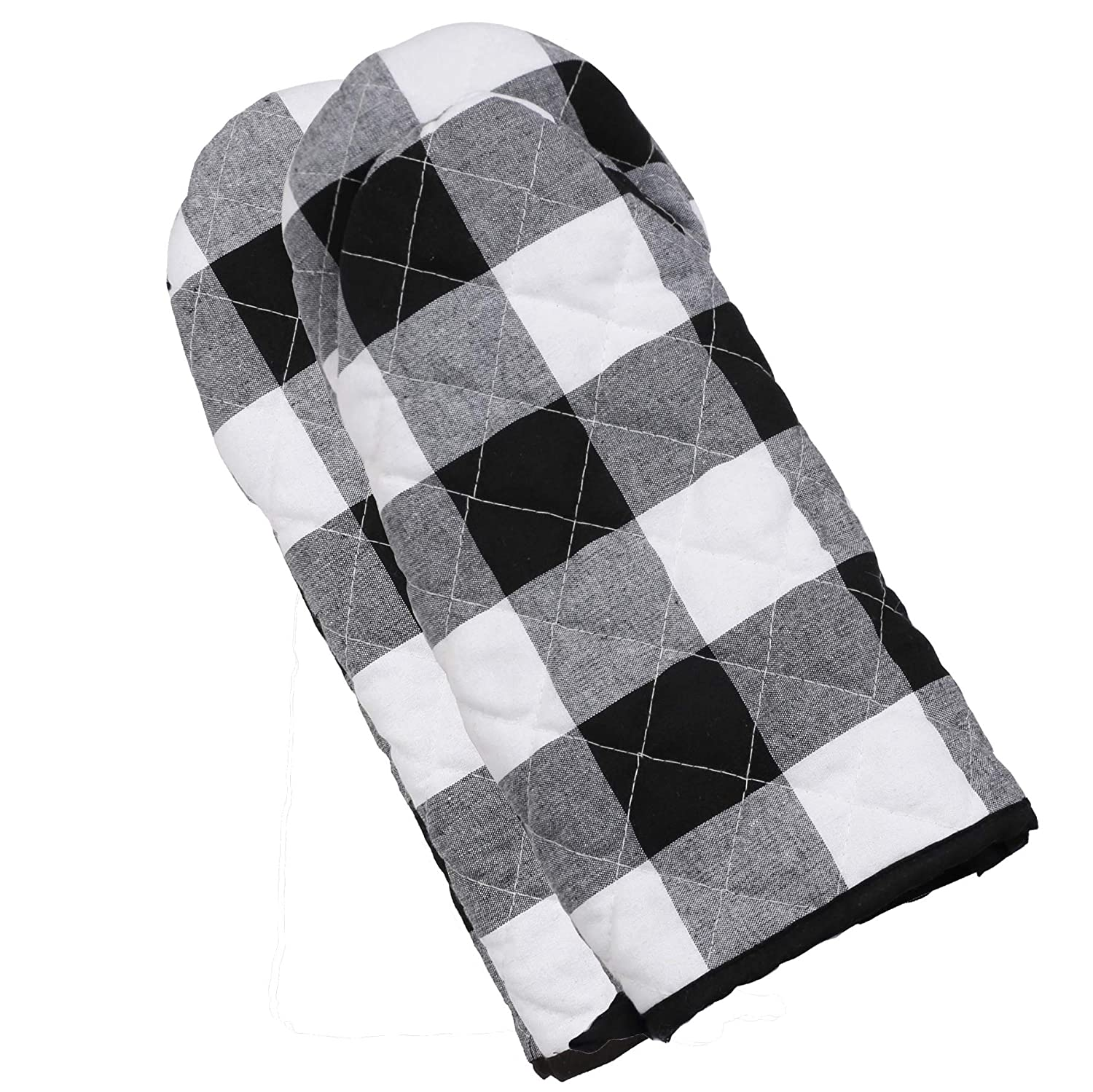 famibay 1 Pair Cotton Linen Plaid Oven Mitts Classic Checker Extended Heat Resistant Potholder Microwave Oven Glove for Kitchen Cooking, Baking & BBQ - Black & White 13.5 Inch