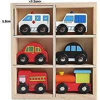 6 Vehículos De Juguete De Madera 5 Coches Y Un Tren En Caja De Madera - Ambulancia - Bomberos - Taxi De Londres - Motor De Tren - Coche De Policía - Coche Rojo